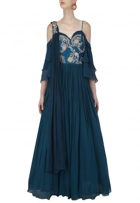 Teal Embroidered Corset Anarkali Gown