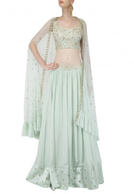 Pista Green Embroidered Lehenga Set with Cape
