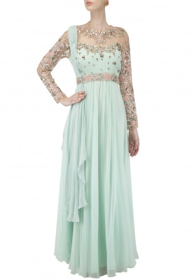 Mint Green Embroidered Anarkali with Belt