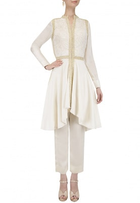 Off White Asymmetric Kurta with Pants