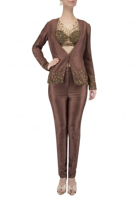 Brown Embroidered Blazer and Pants Set