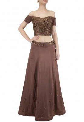 Brown Embroidered Lehenga with Off Shoulder Blouse Set