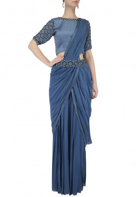 Peach Pleated Drape Palazzo Saree Set