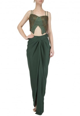Emerald Green Drape Skirt with Beaded Blouse