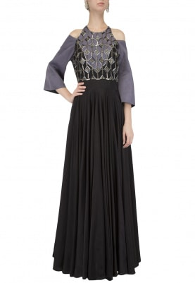 Charcoal and Black Colorblocked Anarkali Set