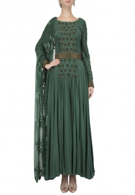 Emerald Green Embellished Anarkali Set