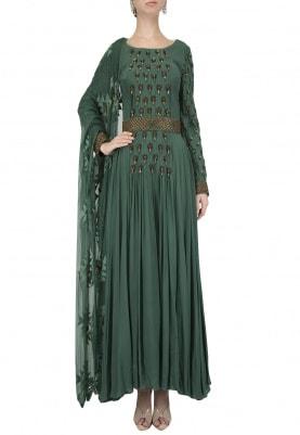 Emerald Green Embellished Anarkali Set