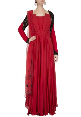 Red and Black Pleated Anarkali Set