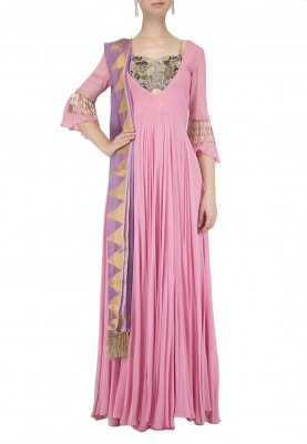 Pink Embroidered Kalidaar Anarkali Set