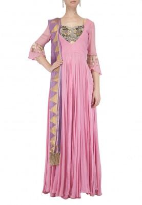 Pink Embroidered Kalidaar Anarkali Set