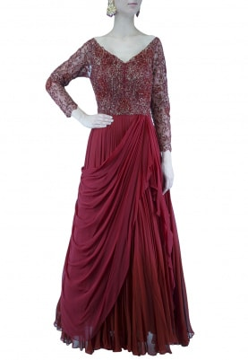 Deep Maroon Embroidered Drape Gown