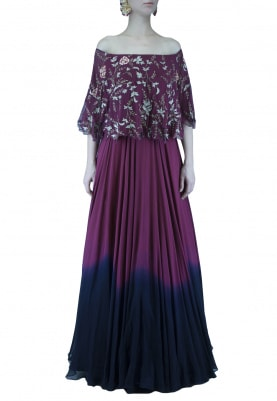 Intense Dark Wine To Blue Ombred Cape Anarkali