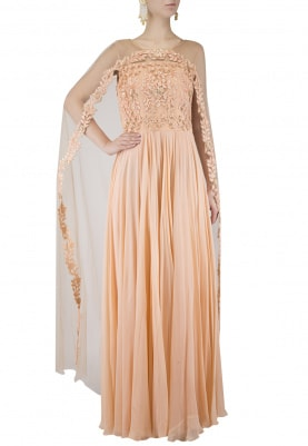 Peach Embroidered Off Shoulder Anarkali With Cape
