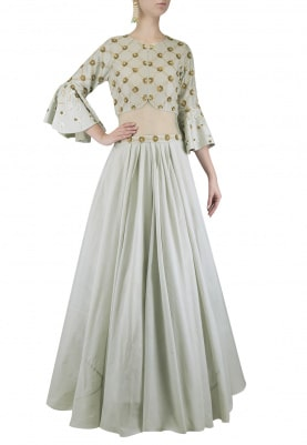 English Blue Intricate Gold Pearl Work Anarkali