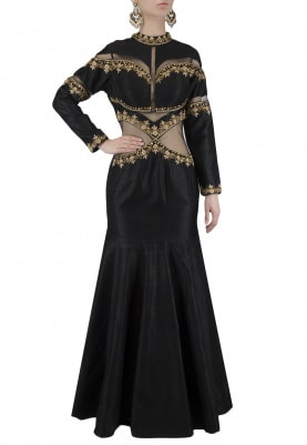 Black Dabka Embroidered Fish Cut Gown