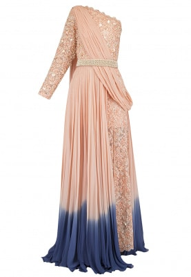 Peach Embroidered Evening Gown