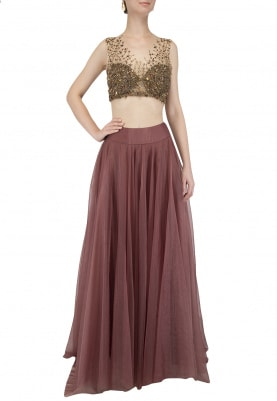 Brown Organza Lehenga with Gold Bustier