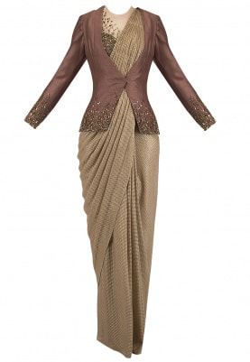 Gold Prestitched Drape Saree with Blouse and Embroidered Jacket Set