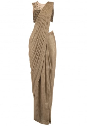 Gold Prestitched Drape Saree with Blouse