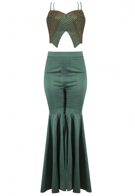 Emerald Green Embellished Blazer Pants Set