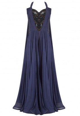 Navy Blue Flared Cape Sleeves Jumpsuit
