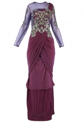 Wine Sequins Embroidered Saree Gown