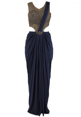 Navy Blue Intricate Cutdana Work Drape Saree