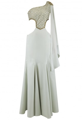 Sky Grey Embroidered Fish Cut Gown