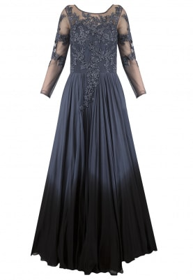 Grey To Black Ombred Embroidered Gown