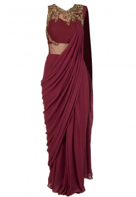 Maroon Embroidered Saree Gown