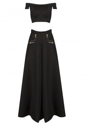 Black Off-Shoulder Crop Top and Skirt