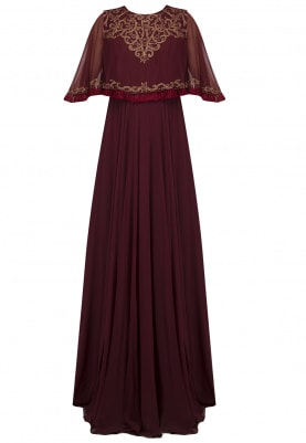 Maroon Embroidered Cape Jumpsuit