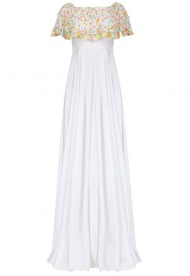 White Embroidered Off-Shoulder Cape Gown