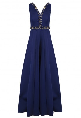Royal Blue Embroidered Jumpsuit