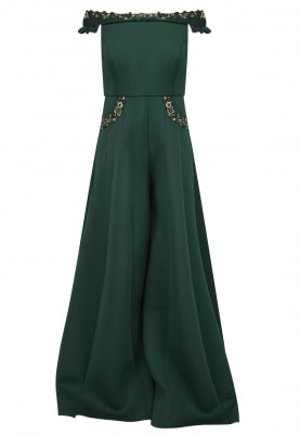 Emerald Green Embroidered Jumpsuit