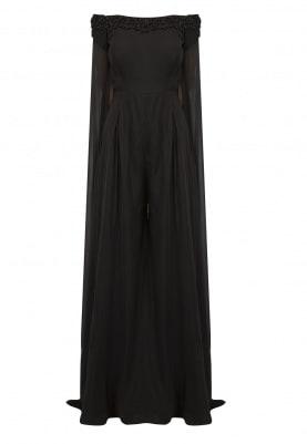 Black Embroidered Offshoulder Cape Jumpsuit