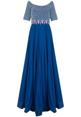 Blue Off Shoulder Kalidaar Gown