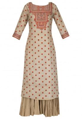 Beige and Orange Threadwork Anarkali Set