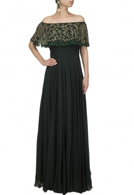 Emerald Green Embroidered Off-Shoulder Cape Gown
