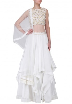 White and Gold Embroidered Layered Lehenga Set