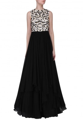 White and Black Embroidered Layered Gown