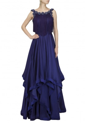 Royal Purple Embroidered Tassel Gown