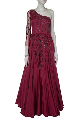 Marsala One Shoulder Embellished Gown