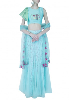 Godet Skirt with Blouse and Dupatta Set