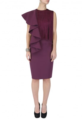 Maroon Fringed Drape Dress