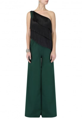 Green One Shoulder Fringed Jumpsuit