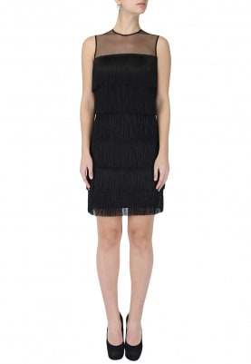 Black Layered Fringed Dress