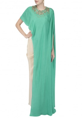 Peacock Greeen Embroidered Cape with Corset and Drape Skirt