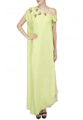 Lime Green Birds Embroidered Cape with Corset and Drape Skirt