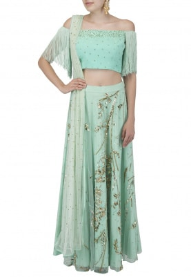 Sea Green Off Shoulder Fringes Blouse with Lehenga Set
